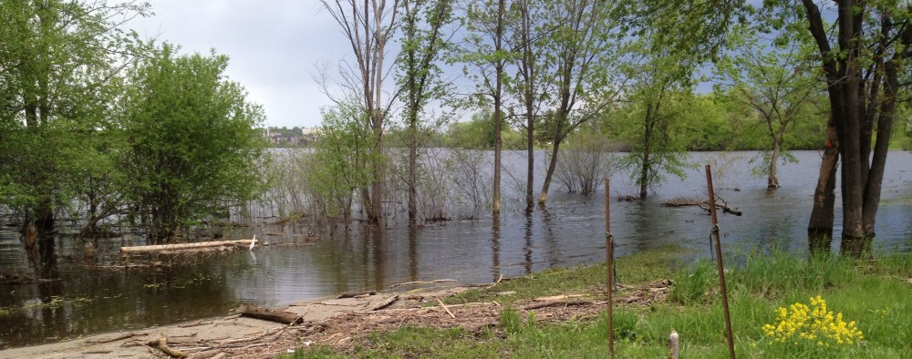 A section of a bike path south of the Ottawa River is closed off in May 2014 due to high water levels and flooding.