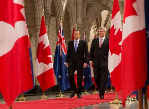 Twitter photo of PM Stephen Harper and PM Tony Abbott in Parliament Hill in Ottawa.