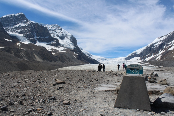 "Parks Canada says the Athabasca Glacier, a major source of water to communities and industry in Western North America, has been shrinking for 125 years and ""may almost disappear within three generations."" Strong scientific evidence points to human activity as the cause of climate change, says the federal agency."